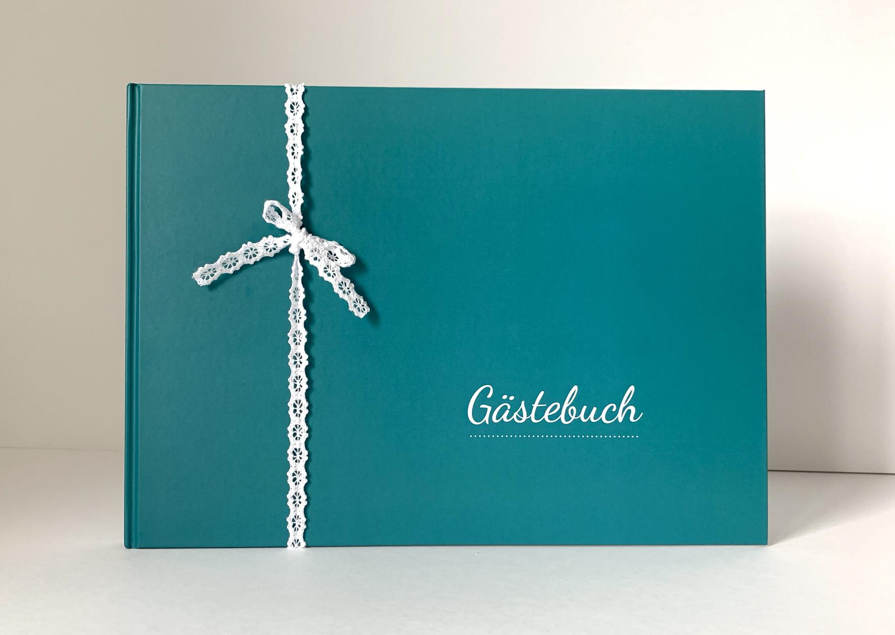 Gästebuch - Türkis (mit Fragen)