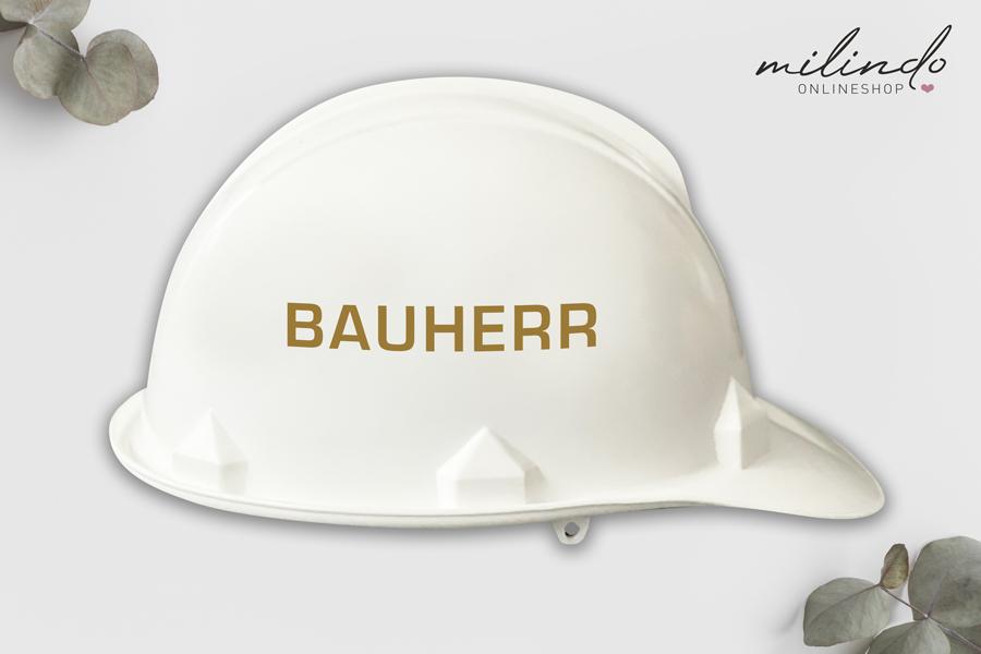 """Aufkleber """"Bauherr"""" für Bauhelm / Farbe wählbar"""