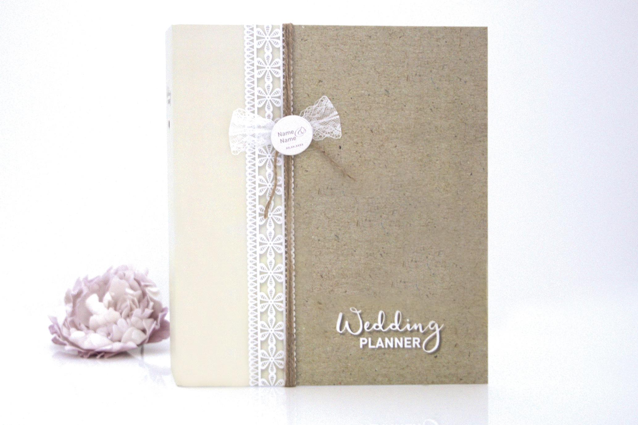 Hochzeitsplaner / Hochzeitsordner / Weddingordner - Boho mit Button