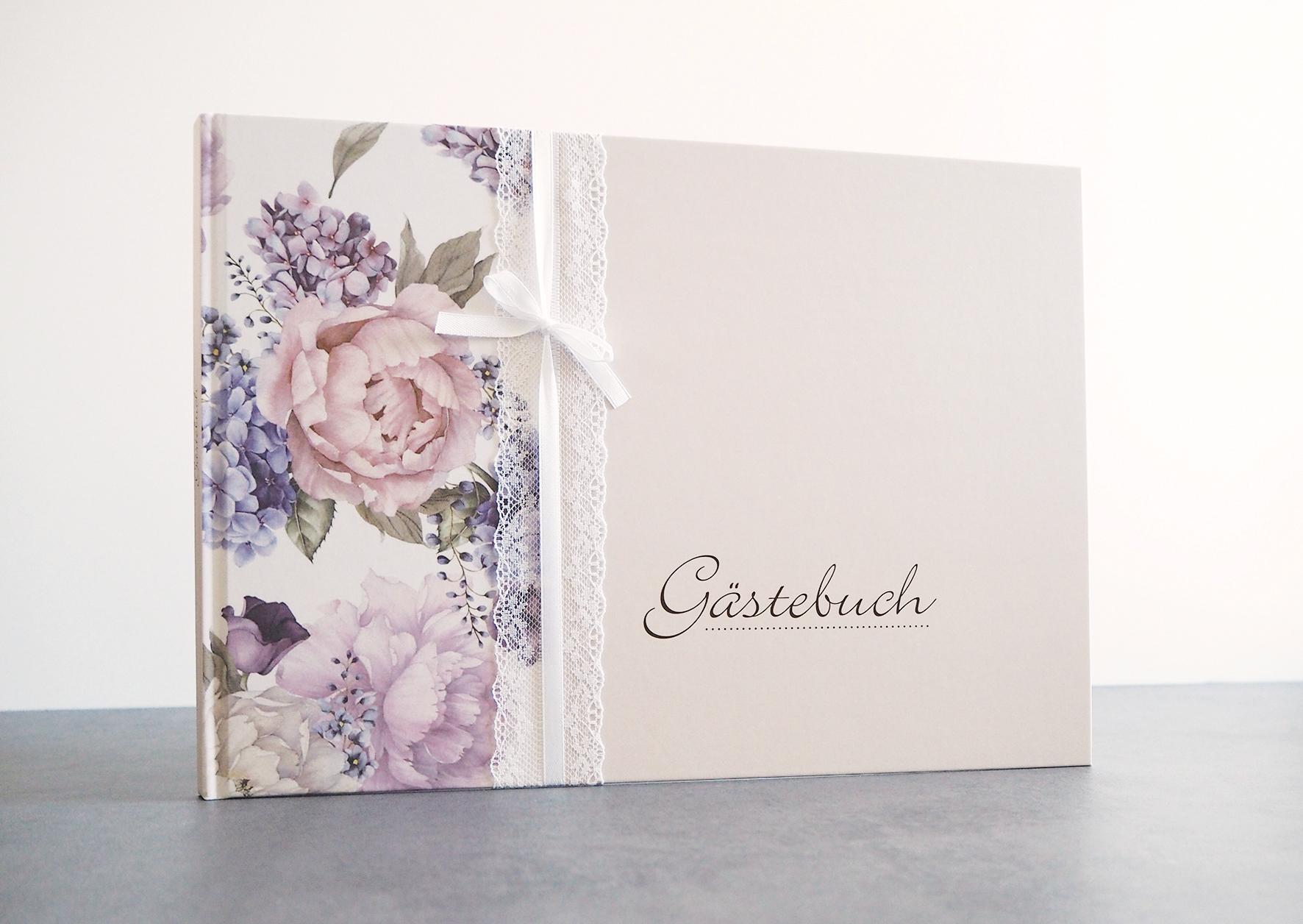 Gästebuch - Blumen (mit Fragen)