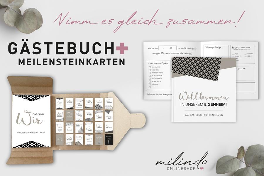 """Kombi-Set """"Häuslebauer"""" (Meilenstein + Gästebuch)"""